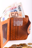 Wallet Euros. Wallet with money euro banknote and Coins Royalty Free Stock Image