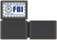 Wallet FBI Special Agent. With space for credit cards and plastic cover for identification Stock Photos