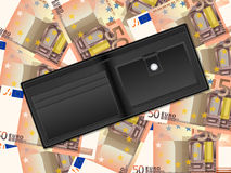 Wallet on fifty euro background. Wallet on fifty euro banknotes background Stock Photography