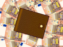 Wallet on fifty euro background Stock Photography