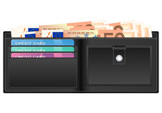 Wallet with fifty euro banknote. Open wallet with fifty euro banknotes and credit cards Royalty Free Stock Photography