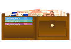 Wallet with fifty euro banknote Royalty Free Stock Photos