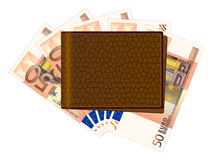 Wallet with fifty euro banknotes. On a white background Royalty Free Stock Images