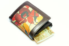 Wallet with fifty euros Royalty Free Stock Photos