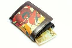 Wallet with fifty euros. Wallet with fifty euro on white background Royalty Free Stock Photos