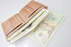 Wallet filled with usd Stock Image
