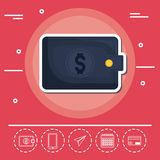 Wallet Fintech Investment Financial Internet Technology Concept. Vector illustration graphic design Stock Image