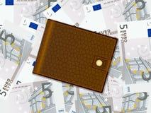 Wallet on five euro background Stock Photos