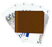 Wallet with five euro banknotes Royalty Free Stock Photos