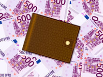Wallet on five hundred euro background Royalty Free Stock Photo
