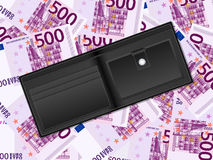 Wallet on five hundred euro background Royalty Free Stock Image