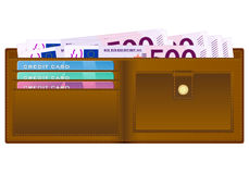 Wallet with five hundred euro banknote Stock Images