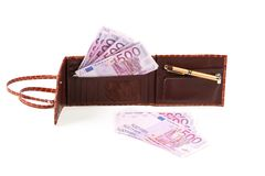 Wallet with five hundreds euro banknotes Stock Photo