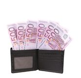 Wallet with five hundreds euro banknotes. nd. Royalty Free Stock Photo