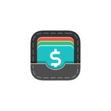 Wallet flat icon. Beautiful flat vector business icon Stock Image