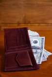 Wallet full of dollar bills Royalty Free Stock Photo