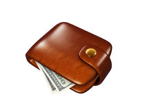 Wallet full of dollars. Icon isolated on white background Royalty Free Stock Photos