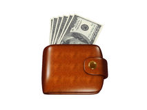 Wallet full of dollars. Icon isolated on white background Stock Photography