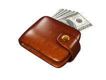 Wallet full of dollars. Icon isolated on white background Stock Photo