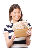 Wallet full of euro-notes Stock Image