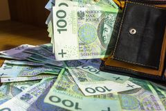 Wallet full of hundred zloty. Banknotes Royalty Free Stock Images