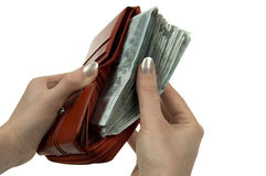 Wallet full of money Royalty Free Stock Photos