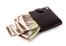 Wallet full of money Stock Photography
