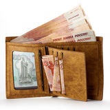 Wallet full of money. Big salary. Isolated object on white. Royalty Free Stock Photography