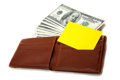Wallet full of money with blank card for text Stock Photos