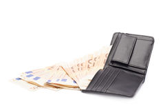 Wallet full of money isolated Royalty Free Stock Photo
