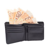 Wallet full of money isolated Royalty Free Stock Images