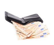 Wallet full of money isolated Royalty Free Stock Photography