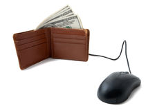Wallet full of money with mouse Royalty Free Stock Image