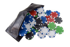 Wallet full of poker chips. A wallet full of poker chips Royalty Free Stock Photo