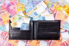 Wallet full of Swiss Francs Stock Photography