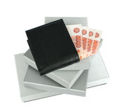 Wallet and gift boxes Royalty Free Stock Photography