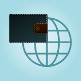 Wallet and globe icon. Purse icon. Royalty Free Stock Photography