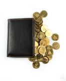 Wallet with golden coins Stock Images