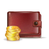 Wallet with golden coins Royalty Free Stock Photos