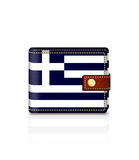 Wallet with greek flag isolated over white Royalty Free Stock Photos