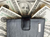 Wallet on heap of money Stock Photos
