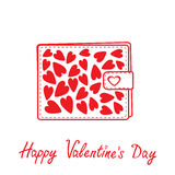 Wallet with hearts inside. Happy Valentines day ca Royalty Free Stock Photo