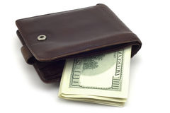 Wallet with hundred-dollar bills Stock Images