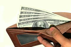 Wallet and Hundred US Dollar Bills. Money amounting to 500 US dollars Stock Images