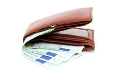 Wallet and hundreds Stock Photos