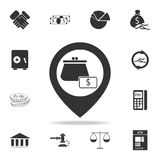 Wallet icon in pin icon. Detailed set of finance, banking and profit element icons. Premium quality graphic design. One of the col. Lection icons for websites Stock Photos