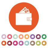 The wallet icon. Purse symbol. Flat. Vector illustration. Button Set Royalty Free Stock Image
