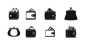 Wallet icon set, simple style. Wallet icon set. Simple set of wallet vector icons for web design isolated on white background Stock Photo