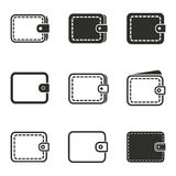 Wallet icon set. Wallet vector icons set. Black illustration isolated on white background for graphic and web design Vector Illustration