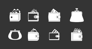 Wallet icon set grey vector. Wallet icon set vector white isolated on grey background Stock Photo